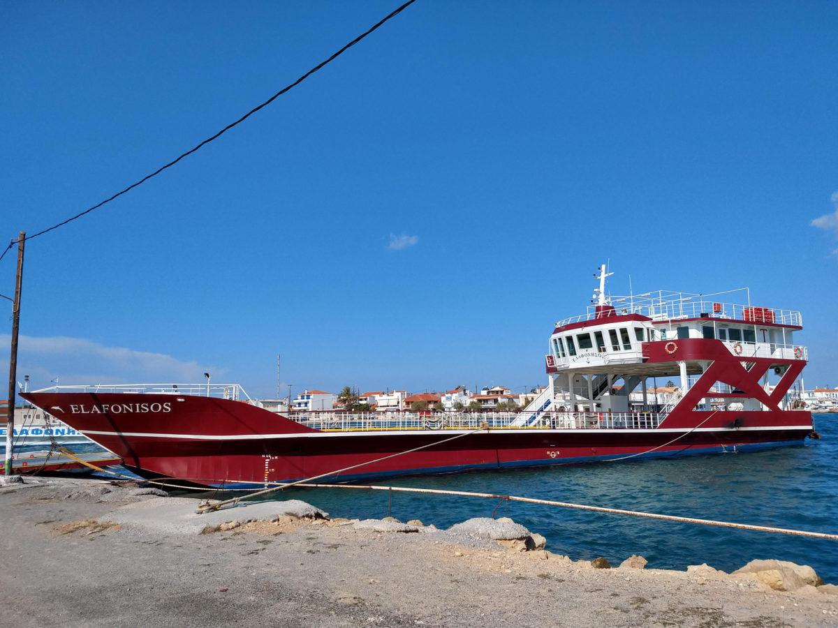 Elafonisos-Fähre im Hafen