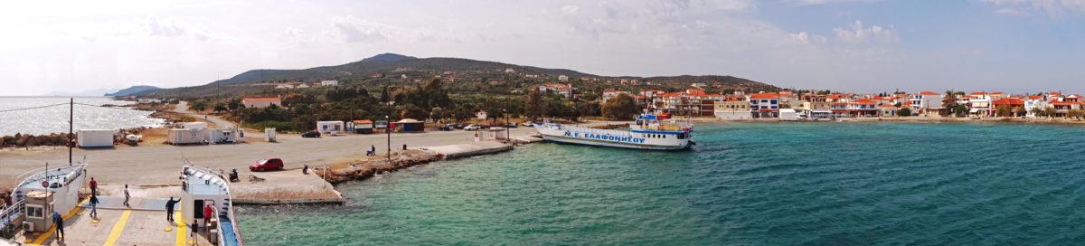 Ankunft: Blick über den Hafen von Elafonisos
