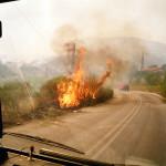 Flammen schlagen auf eine Straße auf dem Peloponnes nahe Githion.