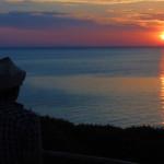 Sonnenuntergang im Westen des nahe der Insel Kefalonias.