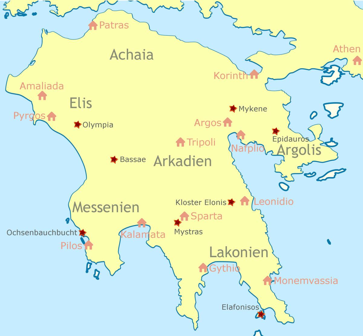 Karte des Peloponnes mit den großen Städten, den bekanntesten Sehenswürdigkeiten und den Namen der Regionen.